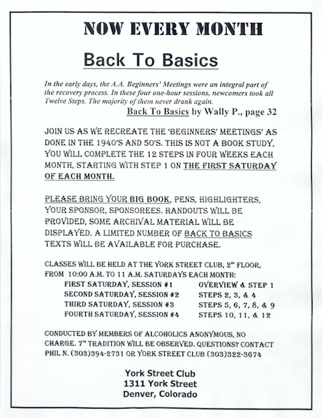 A Partial Listing Of Back To Basics Meetings